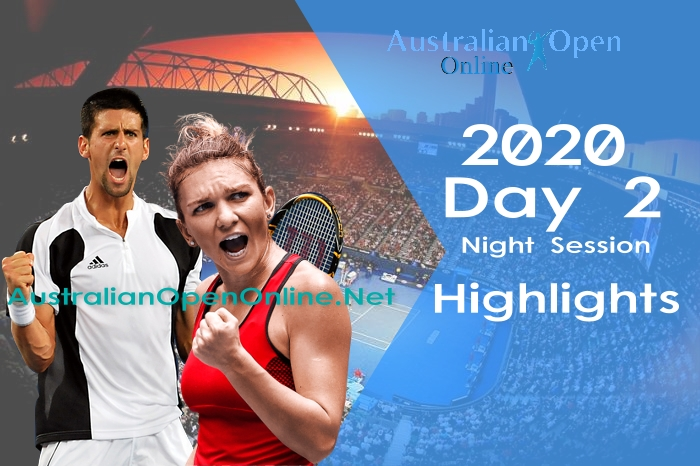 Australian Open Day 2 2020 highlights Night Session